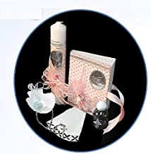 English Handmade Christening/Baptism Set for Girl, Boy, or Unisex : Candle, Bible, Dry Cloth, Sea Shell, Rosary and Holy Water Bottle Silver Tray–Bautizo Religious Gift (Pink)