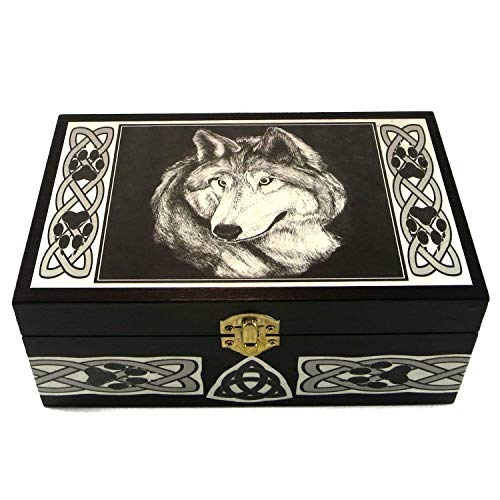 Celtic Wolf Totem Keepsake Box with Custom Message Option by Dragon Star Creations LR2995