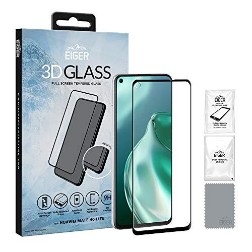 EIGER 3D Glas für Huawei Mate 40 Lite Full Screen Tempered Glass Displayschutz in Klar/Schwarz mit Reinigungsset
