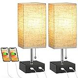 Lovebay Lámpara Noche Tela Moderna 2 Piezas, Lámpara Mesa con 2 Puertos USB Interruptor Cadena, Lámpara Noche E27 con...