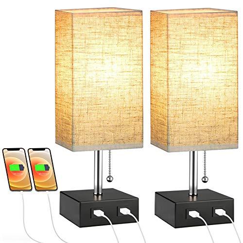 2Pcs Nachttischlampe, Lovebay Tischlampe für Schlafzimmer, LED Stehlampe Tischleuchte mit Stoff Lampenschirm und 2 USB Schnellladung, Schöne Nachtlicht für Schlafzimmer, Wohnzimmer, Hotel(2Pcs, Gelb)