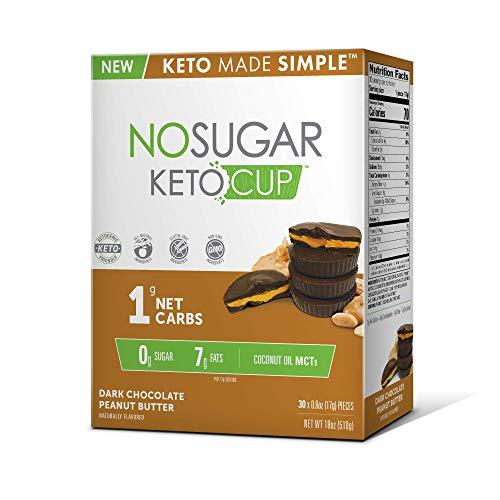 No Sugar Keto Cups - Dark Chocolate Peanut Butter 30 pack, Low Carb Keto Snacks, Gluten Free by No Sugar Company