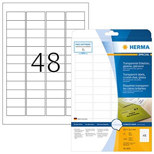 HERMA 8016 Wetterfeste Folien-Etiketten DIN A4 transparent (45,7 x 21,2 mm, 25 Blatt, Polyesterfolie, glänzend) selbstklebend, bedruckbar, permanent haftende Klebefolie, 1.200 Klebeetiketten