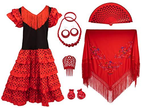 Gojoy Shop - Disfraz de sevillana flamenco para mujer, contiene: vestido, mantón y accesorios. (3 colores y 7 tallas diferentes.) (ROJO, XL)