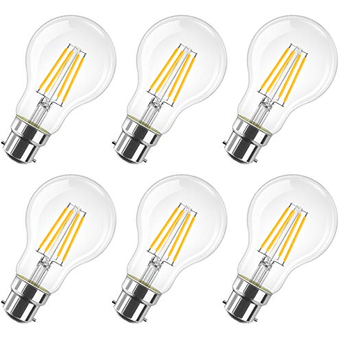 LVWIT 8W B22 Filament LED Glühfaden A60, 2700K Warmweiß, Ersatz für 60W Glühlampe, ultrahell 806 lm, nicht dimmbar, Rustikalampe in Kolbenform, Filamentstil klar (6er Pack)