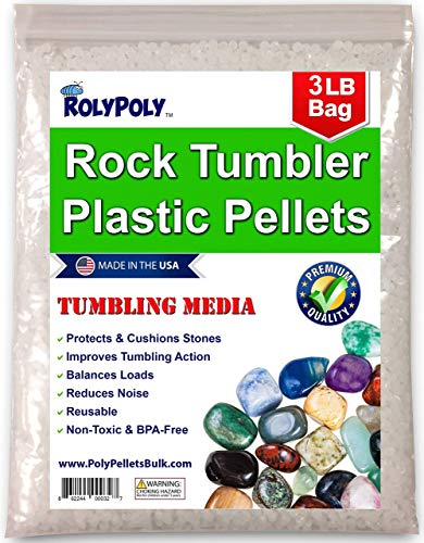 Plastic Pellets Rock Tumbling Media (3 LBS) for Rock Tumbler, Stone Tumbler, Rock Polisher, Filler Beads, Rock Tumbler Supplies in Heavy Duty Resealable Bag