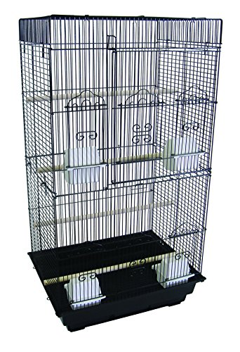 "YML A6824 3/8"" Bar Spacing Tall Flat Top Small Bird Cage, Black, 18"" x 14"""