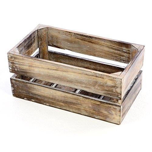 """Divero Vintage Holzkiste braun geflammt Staubox Weinkiste Obstkiste Größe """"S"""" 42 x 23cm / Höhe 17cm Stapelbox Spielzeugkiste Regal-Box"""