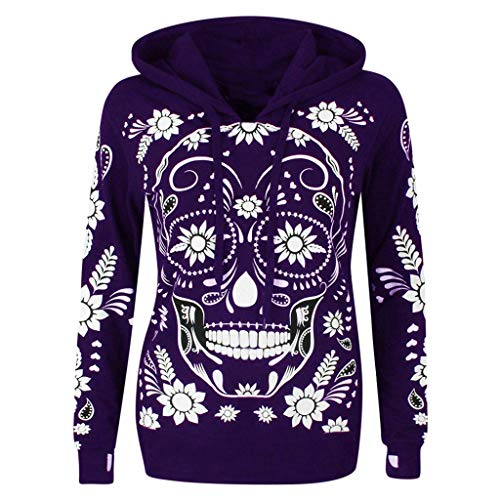 Outdoor Hoodie Women's Long Sleeve Sweatshirt Skull Print Hooded Pullover Sweater Hat Sweater Loose Halloween Tops Purple