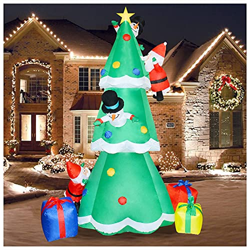 8Ft Christmas Inflatable Decoration Tree with Built-in LED, Blow up Inflatable Tree with 3 Gift Boxes,2 snowmans and 2 Santa Claus for Xmas Holiday Party Indoor, Outdoor, Yard, Garden, Lawn Décor