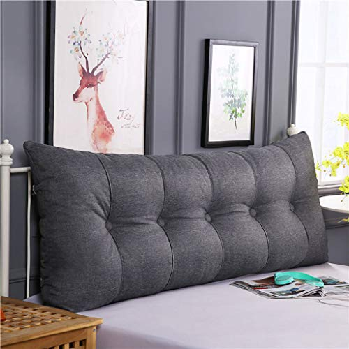 Wedge pad, Waist pad Triangular Reading Pillow Soft Reading Pillow Headboard Back Cushion Back Support Pillow Big daybed Sofa Bed Office Chair Lumbar Pad-Dark gray-200 * 60 * 20Cm