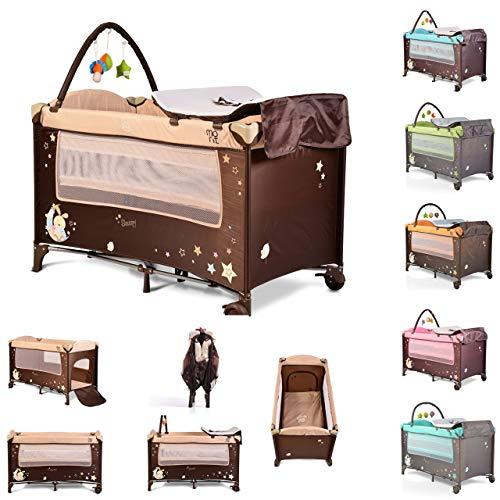 Moni cuna de viaje Sleepy rollos, colchón, colchón, arco de juego, entrada lateral, color:beige