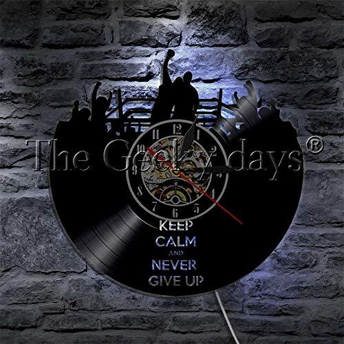 FDGFDG Bleib ruhig und gib Niemals auf Silhouette LED-Licht Vinyl Schallplatte Wanduhr Boxring Knockout Wandleuchte Farbwechsel