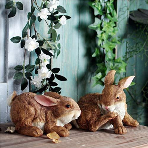 Statue Rabbits Garden Animal, 20cm, Set Of Two, Multicolored Indoor Outdoor Winter Decorations, Patio Lawn Yard Art Ornaments (Color : A)