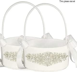 cheap white flower girl baskets