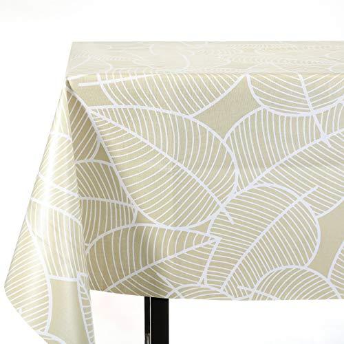 Vinylla - Tovaglia in tela cerata rivestita in vinile, facile da pulire, motivo: foglie, Lino Vinile Cotone, 140 x 240 cm