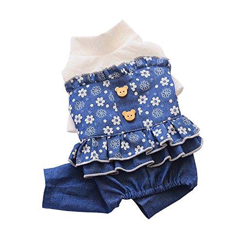 EtophighDog Jumpsuit Herfst & Winter Hond Sweater Bloem Gedrukt Huisdier Broek Jeans Voor Klein&Medium Vrouwelijke Honden Alleen, L, Blauw