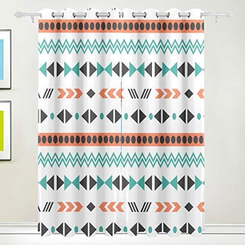LUPINZ Gardine im Boho-Stil, Polyester, 23,2 x 139,7 cm, verdunkelnd, wärmeisolierend, Sonnenblock, Fenstervorhänge, Paneel/Vorhänge, 2-teilig, 8 Ösen