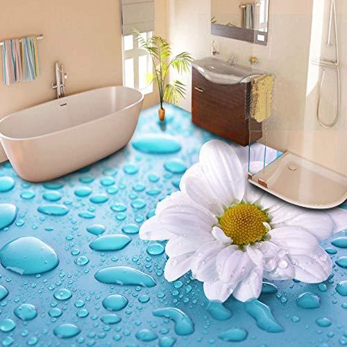 adhesivo para azulejos papel pintado autoadhesivo Flores pastorales modernas 3D suelo mural foto papel tapiz baño PVC autoadhesivo impermeable 3D suelo pegatina-300 * 210 cm
