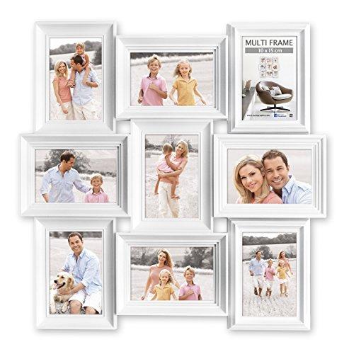 Eurographics Multiframe II - 9 White Collage-Bilderrahmen, Holz, weiß, 57.5 x 57.5 x 2.6 cm