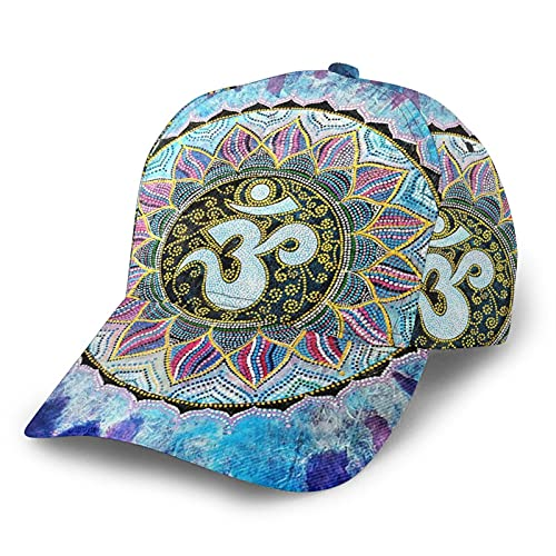 ZORIN Gorra de béisbol Mandala Rainbow Indigo Flower 3D Ajustable Snapback Deportes Trucker Sombreros