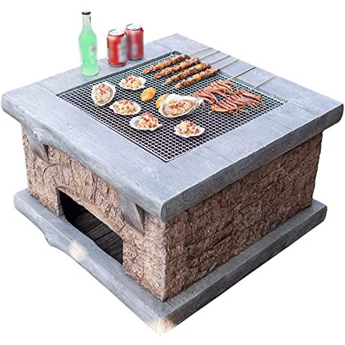 Brasero Mesa de barbacoa,con cuaderna de mesa Diseño Mesa multifuncional Fire Pit,304 Material de malla de acero inoxidable de acero inoxidable de grado alimenticio,adecuado for camping al aire libre