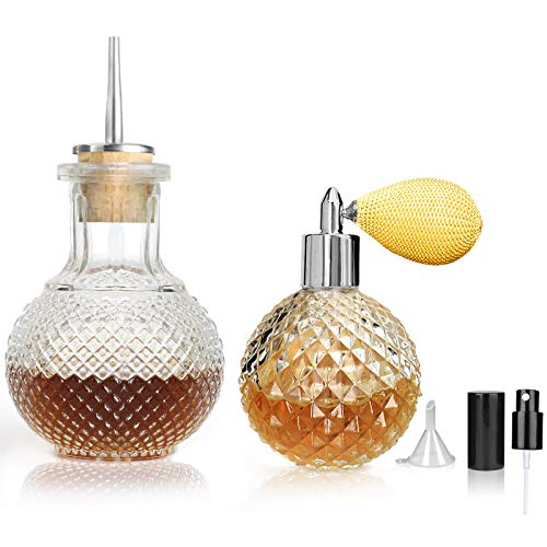 Bitters Bottle Set of 2, Glass Dasher Bottle with Dasher Top, Atomizer Spray Bottle 3.4oz, Great for Cocktail, Bartender, Home Bar, QN05 (2 PCS)