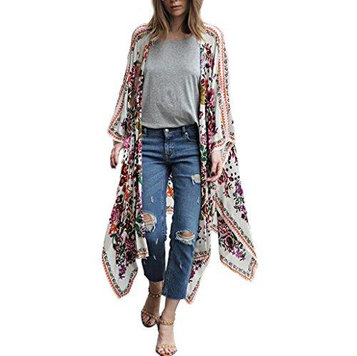 YunYoud Damen Große Größe Mantel Blumenmuster Chiffon Jacke Lose Schal Kimono Irregulär Strickjacke Tops Mode Beiläufig Outwear Jacket (M, Weiß)