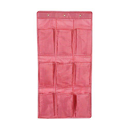 yuery 2/4/6/9/12 bolsillos 5 tipos de calcetines multiusos para zapatos, ropa interior, bolsas de almacenamiento para dormitorio, puerta o pared, armario organizador tipo 1, color rojo, 9 bolsillos