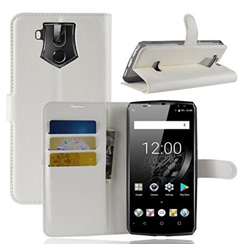 LMFULM® Hülle für Oukitel K10 (6,0 Zoll) PU Leder Magnet Brieftasche Lederhülle Litschi Muster Standfunktion Ledertasche Flip Cover für Oukitel K10 Weiß