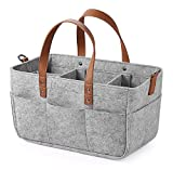 Baby Diaper Caddy Organizer, Portable Nappies Organizer Nursery Storage Basket, Diaper Bag Tote with Changeable Compartments, Baby Storage Basket for Car Travel, Diaper Storage Bin (S)