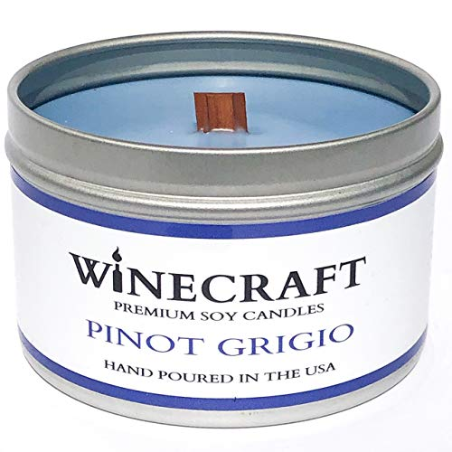 Wooden Wick Aromatherapy Candle - Wine Scented Soy Wax (Pinot Grigio)