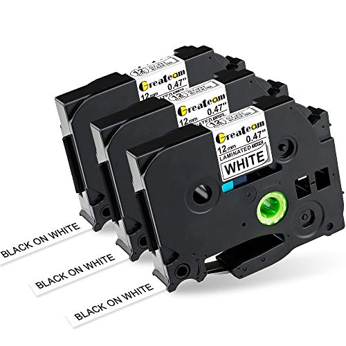 "Greateam Compatible Label Tape Replacement for Brother P-Touch Label Maker Tape TZe-231 Black on White, TZe Tape 12mm 0.47"" Use for Brother PT-H110 PT-D210 PT-D400 PT-1280 PT-D600 Label Tape, 3-PK"