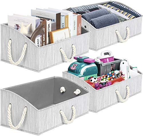 TomCare 4-Pack Storage Baskets Foldable Trapezoid Storage Box Fabric Cube Storage Box Storage Cubes with Durable Rope Handles Cube Organizer Storage Containers for Living Room Bedroom Office (Grey)