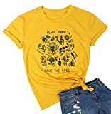 Plant These Save The Bees T Shirt Environmental Protection Bee Kind Tshirt Short Sleeve Cute Tee Shirt for Women Yellow
