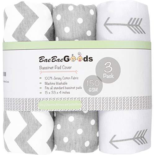 Bassinet Bed Sheets – Bassinet Fitted Sheets 3 Pack – 100% Jersey Knit Cotton Cradle Sheets – Bassinet Bedding for Standard Size Oval or Rectangular Bassinet Pads – Bassinet Sheet for Boy & Girl
