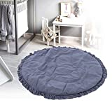 【𝐎𝐟𝐞𝐫𝐭𝐚𝐬 𝐝𝐞 𝐁𝐥𝐚𝐜𝐤 𝐅𝐫𝐢𝐝𝐚𝒚】Alfombra de juego interior decorativa con borde de encaje de color puro,(Carbon gray lace round cushion)