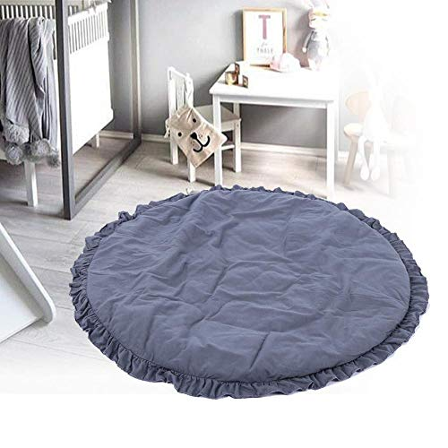 【 】Alfombra de juego interior decorativa con borde de encaje de color puro,(Carbon gray lace round cushion)