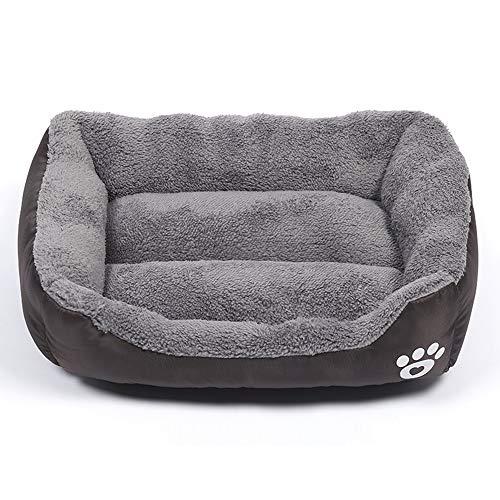 TreeLeaff Cama de terciopelo para perro y gato, cama cuadrada para mascotas de interior para mascotas, cama cálida y suave, lavable, transpirable para perros grandes, medianos y pequeños