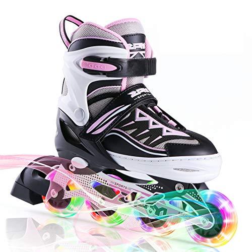 2PM SPORTS Cytia - Pattini in linea regolabili per bambini e adolescenti, con luce completa fino a LED ruote, per divertirsi con la luce lampeggiante per bambini e bambine, colore: rosa S (28-31EU)
