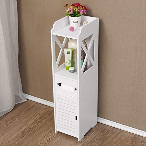 Bathroom Storage Cabinet Floor Standing Tall Cabinet, Wood Plastic Board Bathroom Storage Furniture White Corner Cabinet Organizer Stand【UK IN STOCK】