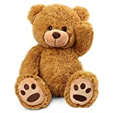 LotFancy 17 inch Teddy Bear Stuffed Animals Plush, Soft Cuddly Stuffed Plush Bear, Cute Stuffed Animals Toys with Footprints, Gifts for Kids Baby Toddlers on Baby Shower, Birthday, Easter, Tan Color