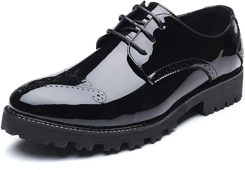 IWGR Herren Business Oxford Casual Persönlichkeit Mode Trend Farbe Low-Top Low-Top Low-Top Brogue Lackleder Schwarz Formelle Schuhe  52e9a6