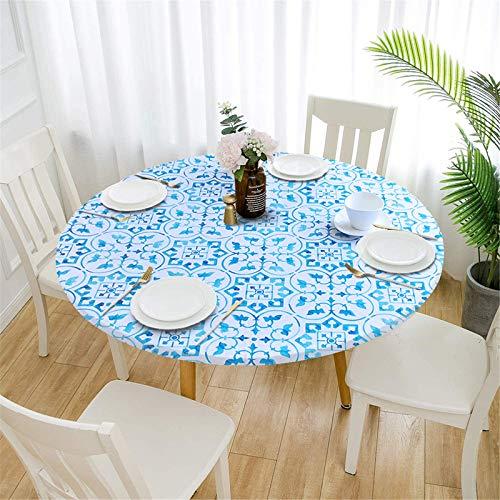 XDKS Manteles redondos antideslizantes para mesa circular, mantel redondo impermeable, para exteriores, patio, cocina y comedor (120 cm, flor azul)
