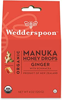 Wedderspoon Organic Manuka Honey Drops, Ginger + Echinacea, 4.0 Oz, Unpasteurized, Genuine New Zealand Honey, Perfect Remedy For Dry Throats