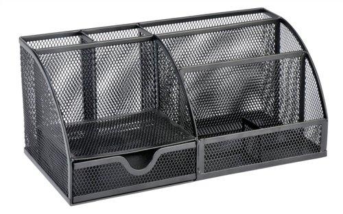 Osco MD02-BLK - Organizador grande de escritorio de malla metálica, color negro