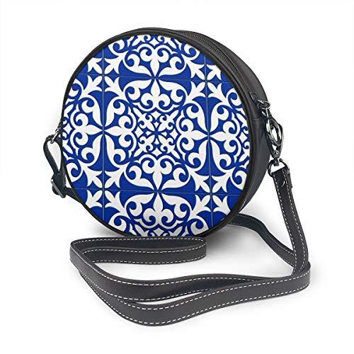 Marokkaanse tegel - kobalt blauw ronde handtas Satchel Crossbody zakken PU lederen Rits schoudertas ronde Canteen portemonnee voor vrouwen gepersonaliseerd