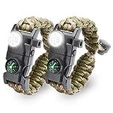LeMotech 20 in 1 Adjustable Paracord Survival Bracelet, Tactical Emergency Gear Kit Includes