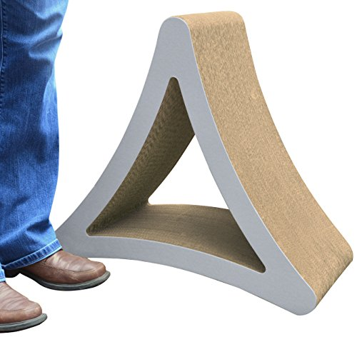 PetFusion 3-Sided Vertical Cat Scratching Post (Large Size, Warm Gray). [Multiple Scratching Angles to Match Your Cat's Preference]