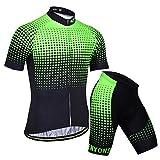 X-Labor - Maillot de ciclismo para hombre, talla grande, camiseta de manga corta + pantalones de ciclismo con acolchado 3D, color verde 3XL
